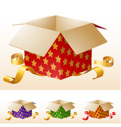 open gift box with gold ribbon vector image vector image