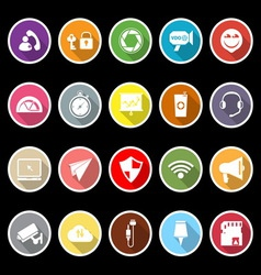 Smart phone screen flat icons with long shadow vector image vector image