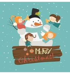 Big snowman with cute angels vector
