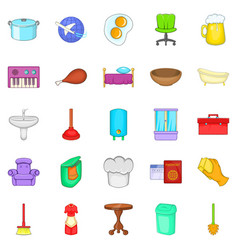 community icons set cartoon style vector image vector image