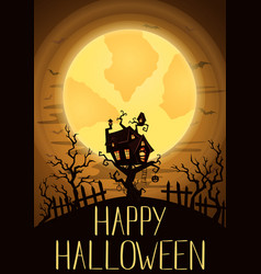 happy halloween party banner with spooky castle vector image vector image