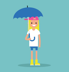 young smiling girl with umbrella wearing yellow vector image