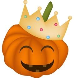 A Happy Halloween Pumpkin in A Crown vector image vector image