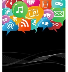 colorful social network concept vector image vector image