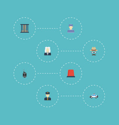 flat icons policeman inspector signal and other vector image vector image