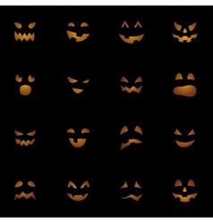 Halloween pumpkins faces on black background vector image