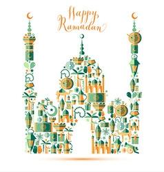 Happy Ramadan icons set of Arabian vector image