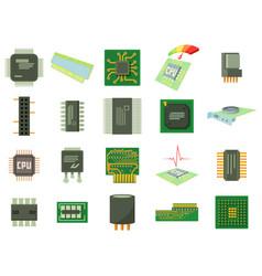 micro chip icon set cartoon style vector image
