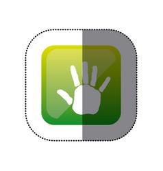 sticker color square with handprint icon vector image