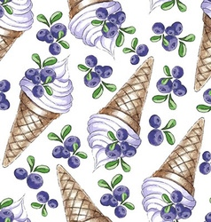Watercolor Seamless pattern with blueberries vector image