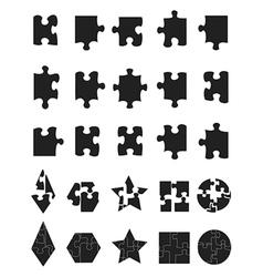 black jigsaw Puzzle Pieces icon vector image vector image