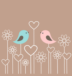 couple of cute birds with flowers and hearts vector image vector image