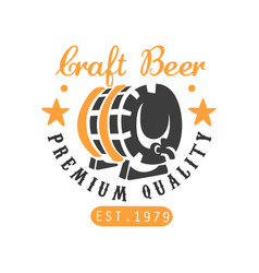 craft beer logo template with barrel and stars vector image vector image