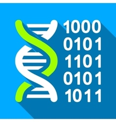 Genetical Code Flat Long Shadow Square Icon vector image
