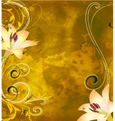 grunge floral background with lilies vector image
