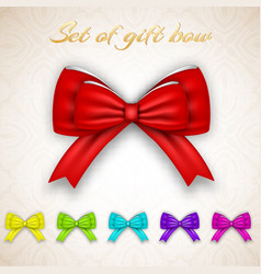 luxury gift ribbon bows set vector image vector image