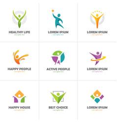 set of abstract colorful human logo vector image vector image