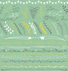 Set of hand drawn lines border branches and vector image vector image