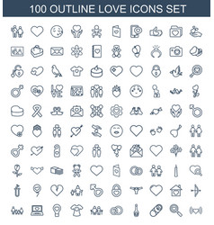 100 love icons vector image