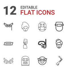 12 mask icons vector