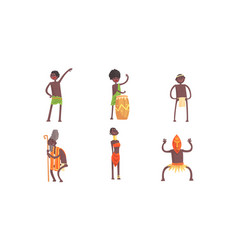 African tribal characters set man beating vector