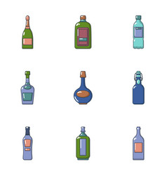 alcohol flask icons set cartoon style vector image