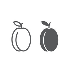 apricot line and glyph icon fruit and vitamin vector image