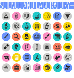 big science and laboratory icon set trendy flat vector image