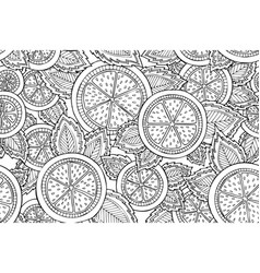 black and white seamless pattern with lemons vector image