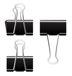 Black paper binder clip vector image