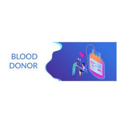 blood donationisometric 3d banner header vector image