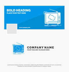 blue business logo template for tv ad advertising vector image