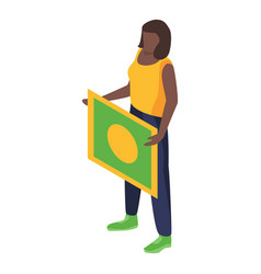 brazil woman support soccer team icon isometric vector image