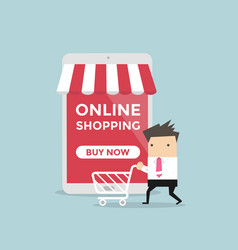 businessman with shopping cart online store vector image