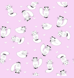 cartoon cats on pink background seamless pattern vector image