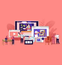 Characters watch video courses get online vector