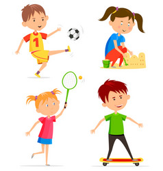 Children or kids activity at playtime vector