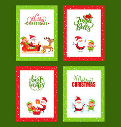 christmas cards collection with santa claus vector image