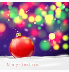 christmas poster template with red ball vector image