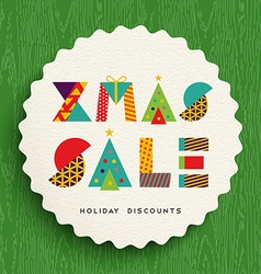 Christmas sale tag design for holiday discounts vector image