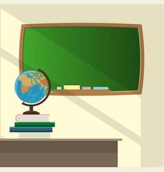 Classroom school globe and books on teachers vector