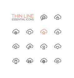 clouds with symbols - modern single thin vector image