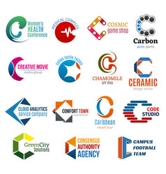 Corporate identity business icons letter c vector