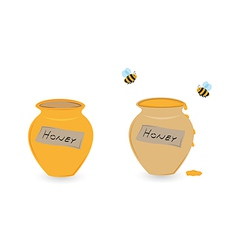 cup of honey and flying bee vector image