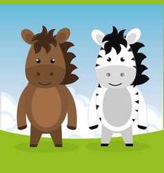 Cute horse and zebra in the field landscape vector