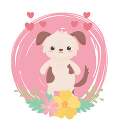 cute little dog flowers hearts cartoon animals vector image
