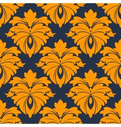 Damask seamless pattern in blue and orange vector image