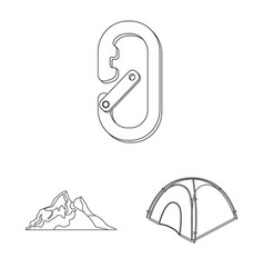 Design of mountaineering and peak logo vector