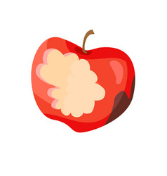 Dirty apple nibbled fruit vector