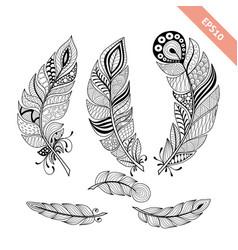 doodle black outline feather set vector image